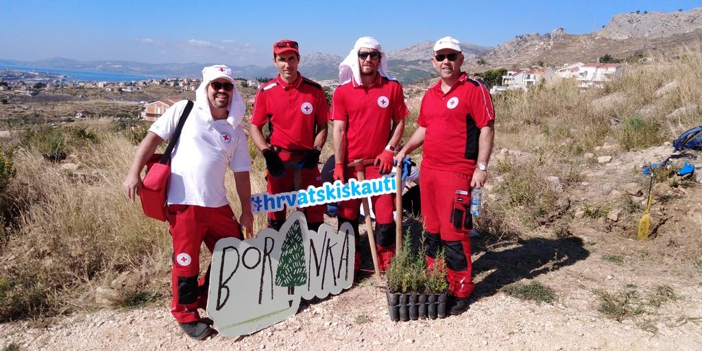 POŠUMLJAVANJE OPOŽARENE DALMACIJE Makarski Crveni križ zasadio 100 stabala u ovogodišnjoj akciji Boranka